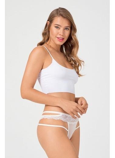 Cottonhill Transparan Dantel ve İp Detaylı Kadın Bikini Külot Krem
